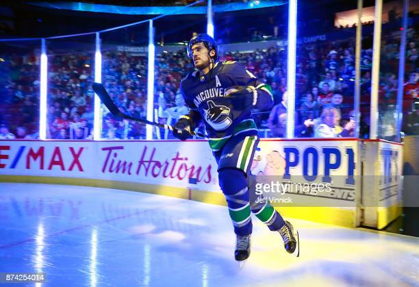 Michael Del Zotto of the Vancouver Canucks steps onto the ice during their NHL game against the Washington Capitals at Rogers Arena October 26 2017...