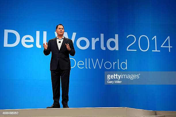 Michael Dell gives the keynote address to Dell employees to kick off Dell World 2014 at the Austin Convention Center on November 5, 2014 in Austin,...