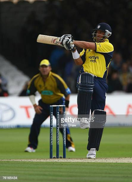 Michael Di Venuto of Durham hits out during the Friends Provident Trophy Final between Hampshire Hawks and Durham Dynamos at Lords on August 18 2007...