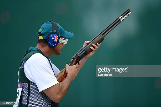 Michael Diamond of Australia competes during the Men's Trap Shooting qualifying on Day 10 of the London 2012 Olympic Game at the Royal Artillery...
