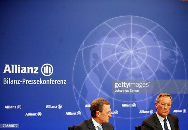 Michael Diekmann CEO of the Allianz insurance group and Helmut Perlet member of the board look on during the announcement of the 2007 results on...
