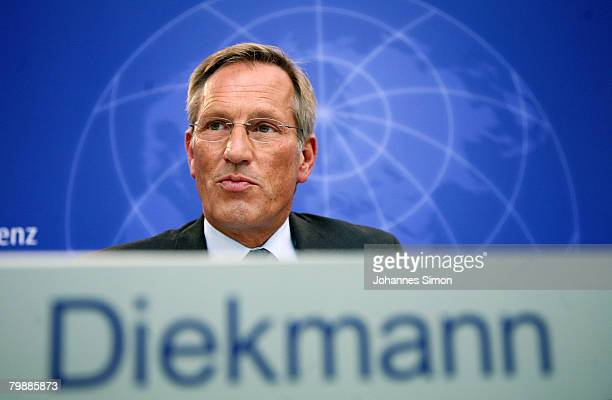 Michael Diekmann CEO of the Allianz insurance group announces the 2007 results on February 21 2008 in Munich Germany Hitting a historical high total...