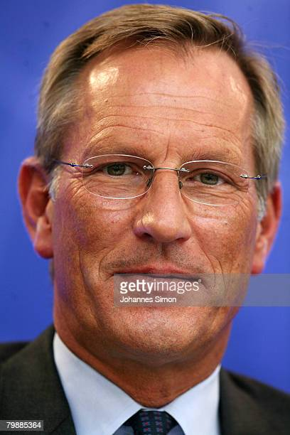 Michael Diekmann CEO of the Allianz insurance group looks during the announcement of the 2007 results on February 21 2008 in Munich Germany Hitting a...