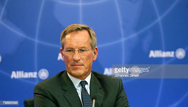 Michael Diekmann CEO of the Allianz insurance group looks on during the announcement of the 2007 results on February 21 2008 in Munich Germany...