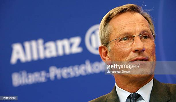 Michael Diekmann CEO of the Allianz insurance group looks on prior to the announcement of the 2007 results on February 21 2008 in Munich Germany...