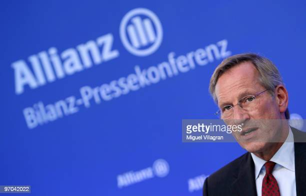 Michael Diekmann Chief Executive of German insurer Allianz SE addresses the media during the annual press conference on February 25 2010 in Munich...