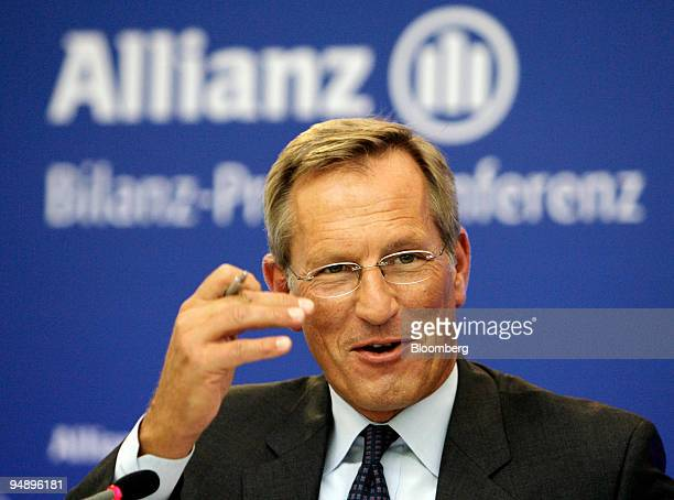 Michael Diekmann chief executive officer of Allianz SE speaks during the presentation of the company's 2007 results in Munich Germany on Thursday Feb...