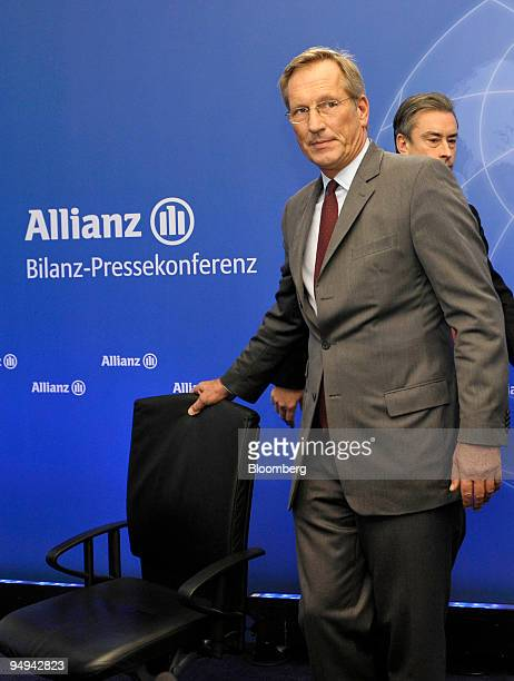 Michael Diekmann chief executive officer of the Allianz SE Group arrives for the presentation of the company's 2008 results in Munich Germany on...