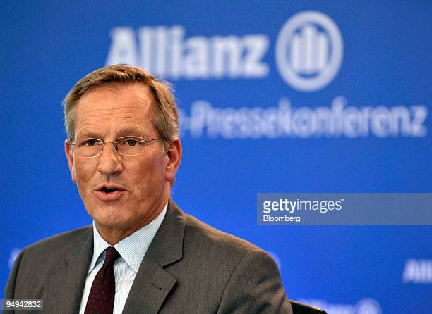 Michael Diekmann chief executive officer of the Allianz SE Group speaks during the presentation of the company's 2008 results in Munich Germany on...