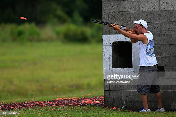 Michael Digh shoots during the US Open Skeet Championships at the Forest City Gun Club on September 9 2012 in Savannah Georgia