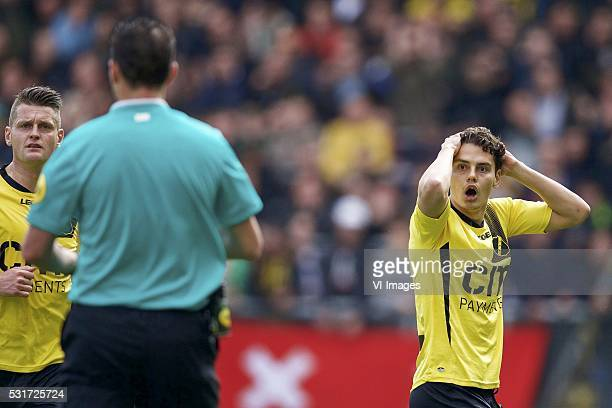 Michael Dingsdag of NAC Breda referee Jochem Kamphuis Enes Unal of NAC Breda during the Playoffs Promotion/Relegation return match between NAC Breda...