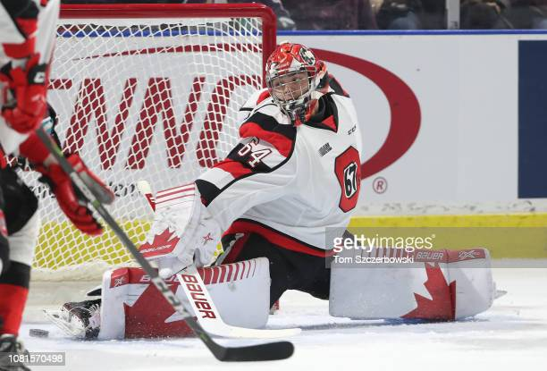 Michael DiPietro of the Ottawa 67s is beaten by Connor McMichael of the London Knights in the first period for the only goal of the period during OHL...