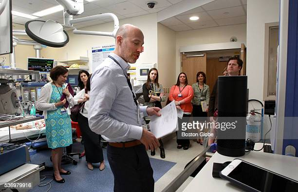 Michael Docktor MD during demonstration of Amazon's Alexa voice recognition technology for medical purposes in an operating room at the Boston...