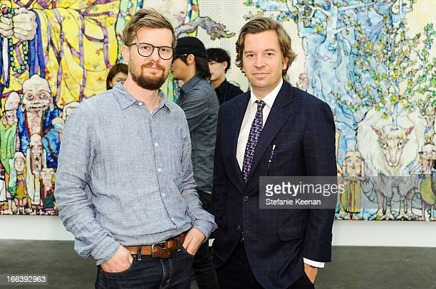 Michael Dodge and Friedrich Kunath attend Takashi Murakami Private Preview And Dinner At Blum Poe on April 11 2013 in Los Angeles California