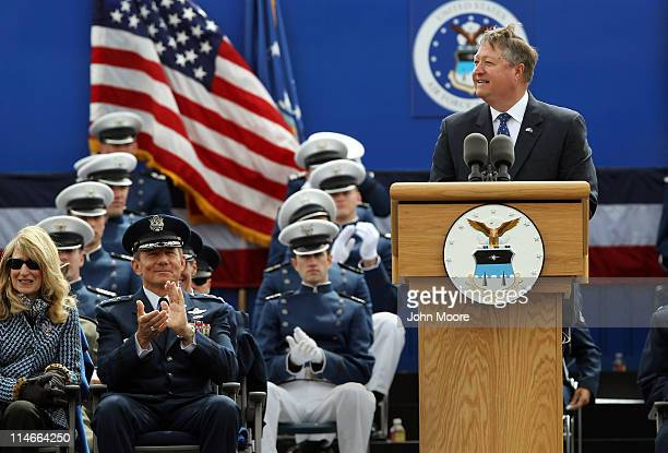 Michael Donley Secretary of the US Air Force gives the commencement speech at the US Air Force Academy graduation ceremony on May 25 2011 in Colorado...