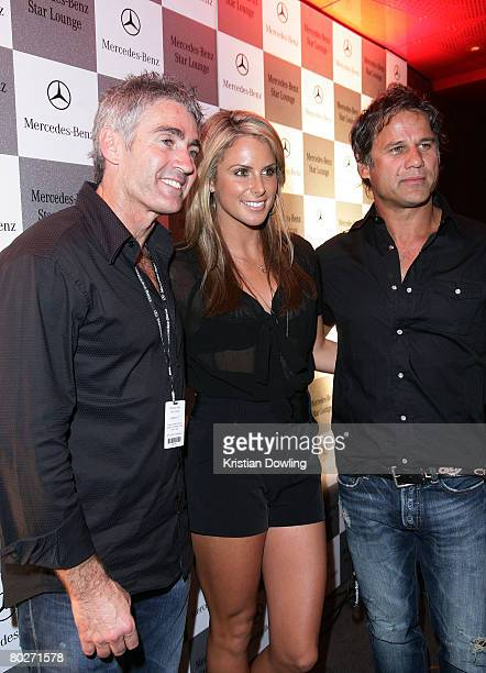 Michael Doohan Model Candice Falzon and singer Jon Stevens attend the Mecedes Benz Star Lounge following the Australian Formula One Grand Prix at...