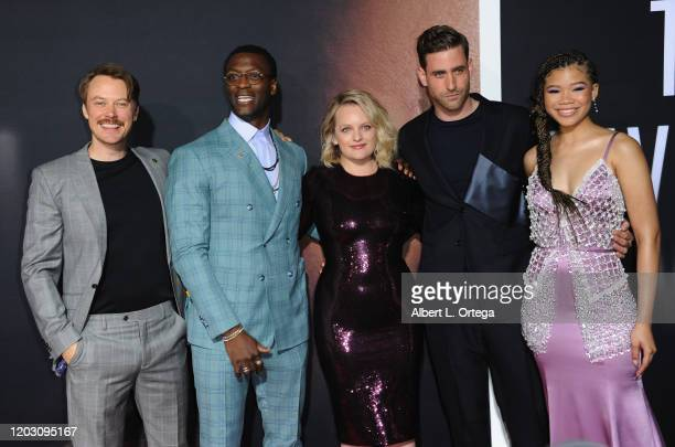 Michael Dorman Aldis Hodge Elisabeth Moss Oliver JacksonCohen and Storm Reid arrive for the Premiere Of Universal Pictures' The Invisible Man held at...