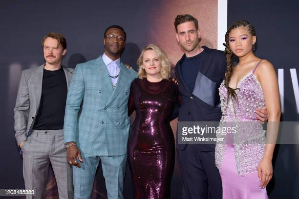 Michael Dorman Aldis Hodge Elisabeth Moss Oliver JacksonCohen and Storm Reid attend the Premiere of Universal Pictures' The Invisible Man at TCL...
