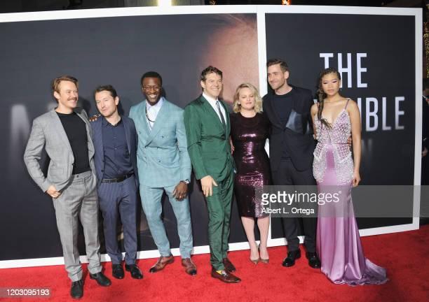 Michael Dorman Leigh Whanneell Aldis Hodge Jason Blum Elisabeth Moss Oliver JacksonCohen and Storm Reid arrive for the Premiere Of Universal...