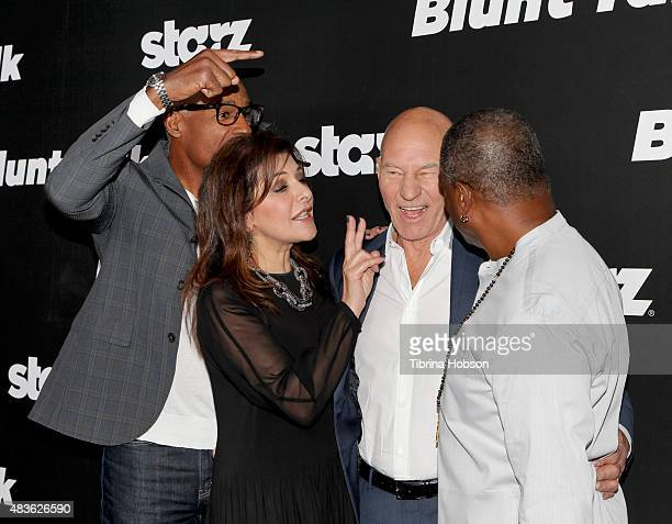 Michael Dorn, Marina Sirtis, Patrick Stewart and LeVar Burton attend the premiere of STARZ 'Blunt Talk' at DGA Theater on August 10, 2015 in Los...