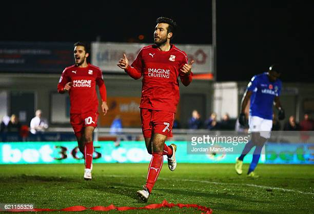 Michael Doughty of Swindon Town celebrates as he scores their first and equalising goal from the penalty spot during The Emirates FA Cup first round...