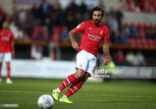 Michael Doughty of Swindon Town in action during the Sky Bet League Two match between Swindon Town and Northampton Town at The County Ground on...