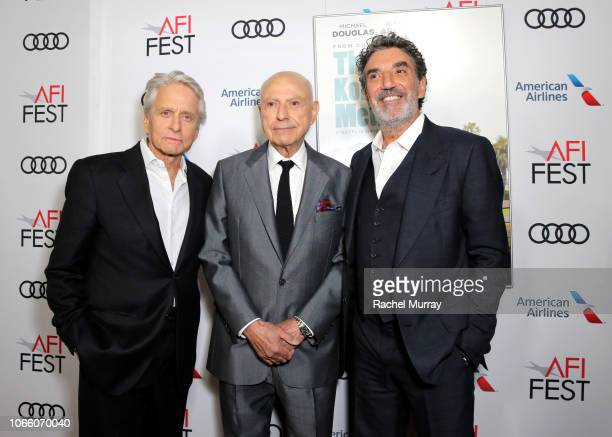 Michael Douglas Alan Arkin and Chuck Lorre attend the Los Angeles Premiere of 'The Kominsky Method ' at AFI Fest at TCL Chinese Theatre on November...