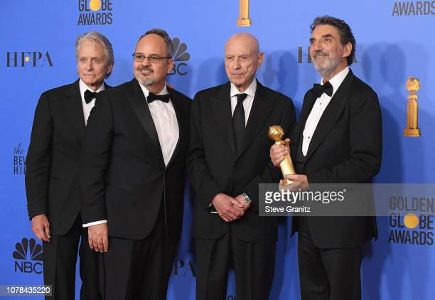 Michael Douglas Alan J Higgins Alan Arkin and Chuck Lorre pose in the press room during the 76th Annual Golden Globe Awards at The Beverly Hilton...