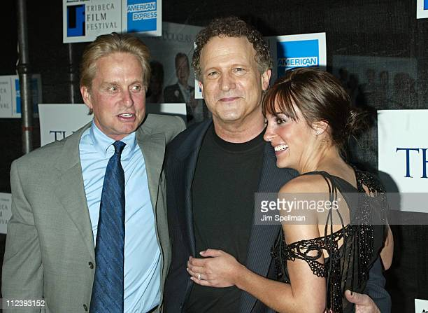 Michael Douglas Albert Brooks and Lindsay Sloane during 2003 Tribeca Film Festival Premiere of The InLaws at Tribeca Performing Arts Center in New...