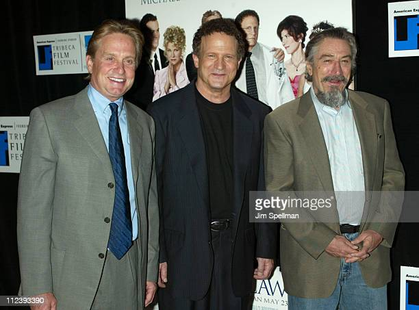 Michael Douglas Albert Brooks and Robert De Niro during 2003 Tribeca Film Festival Premiere of The InLaws at Tribeca Performing Arts Center in New...