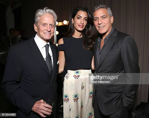Michael Douglas Amal Clooney and George Clooney attend the MPTF 95th anniversary celebration with 'Hollywood's Night Under The Stars' at MPTF...