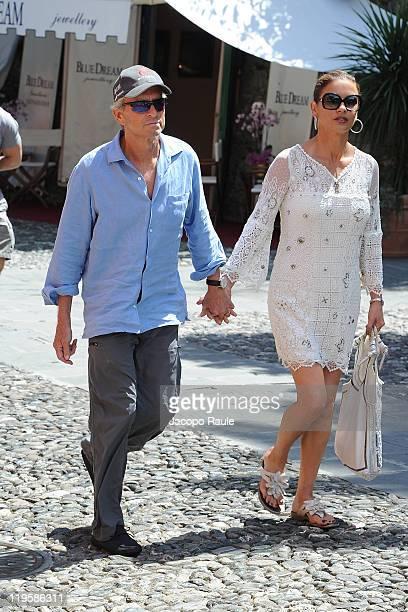 Michael Douglas And Catherine Zeta Jones are seen on July 22 2011 in Portofino Italy