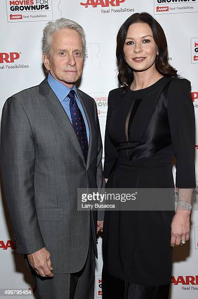 Michael Douglas and Catherine Zeta Jones attend the AARP Movies for Grownups Gala Countdown Lunch with actor/producer Michael Douglas 2016 Career...