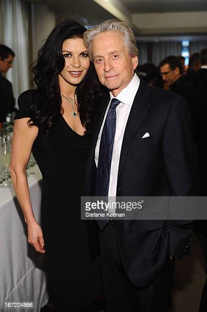Michael Douglas and Catherine Zeta Jones attend the Grey Goose cocktail reception of The Film Society of Lincoln Center's 40th Chaplin Award Gala at...