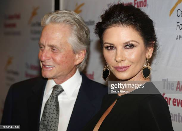 Michael Douglas and Catherine Zeta Jones pose at The Actors Fund of America's 'Career Transition for Dancers Jubilee Gala' at The Marriott Marquis...