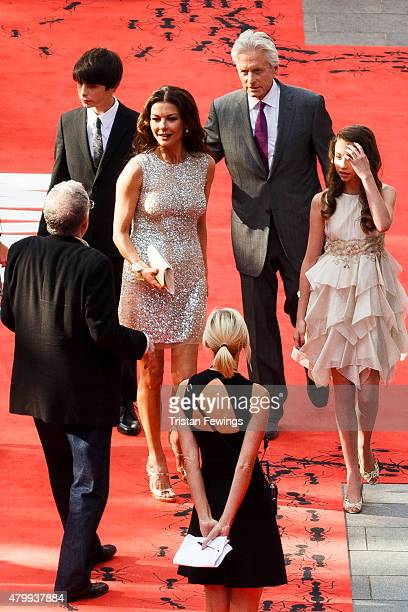Michael Douglas and Catherine Zeta Jones with their children Carys and Dylan attend the European Premiere of Marvel's AntMan at Odeon Leicester...