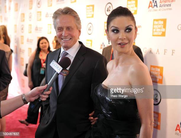 Michael Douglas and Catherine Zeta-Jones are interviewed at the The Film Society of Lincoln Center's 37th Annual Chaplin Award gala at Alice Tully...
