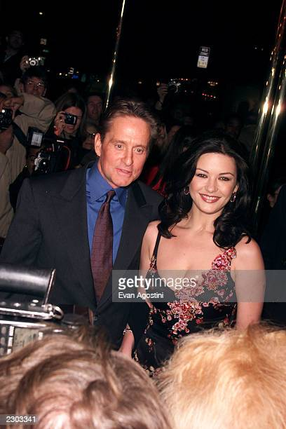 Michael Douglas and Catherine ZetaJones arrive at the 'Russian Tea Room' for their wedding rehearsal dinner in New York City
