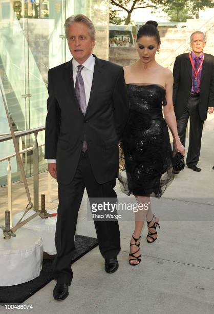 Michael Douglas and Catherine Zeta-Jones arrive at the The Film Society of Lincoln Center's 37th Annual Chaplin Award gala at Alice Tully Hall on May...