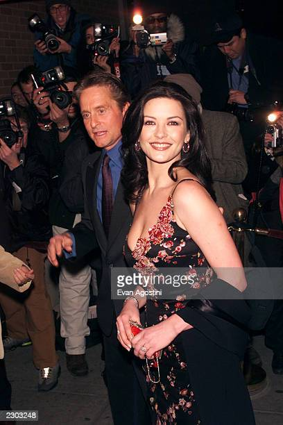 Michael Douglas and Catherine ZetaJones arrives at the 'Russian Tea Room' for their wedding rehearsal dinner in New York City