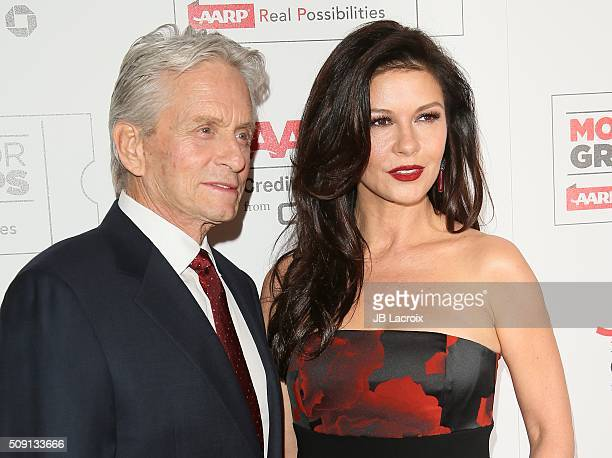 Michael Douglas and Catherine ZetaJones attend AARP's Movie For GrownUps Awards at the Beverly Wilshire Four Seasons Hotel on February 8 2016 in...