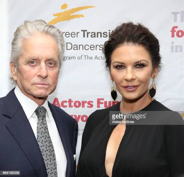 Michael Douglas and Catherine ZetaJones attend Actors Fund Career Transition For Dancers Gala on November 1 2017 at The Marriott Marquis in New York...