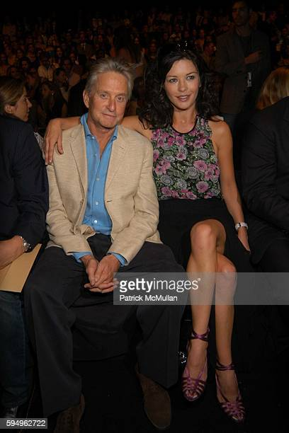 Michael Douglas and Catherine ZetaJones attend Michael Kors Spring 2006 Collection at The Tent at Bryant Park on September 14 2005 in New York City