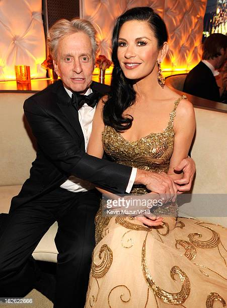 Michael Douglas and Catherine ZetaJones attend the 2013 Vanity Fair Oscar Party hosted by Graydon Carter at Sunset Tower on February 24 2013 in West...