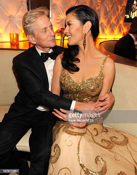 Michael Douglas and Catherine Zeta-Jones attend the 2013 Vanity Fair Oscar Party hosted by Graydon Carter at Sunset Tower on February 24, 2013 in...