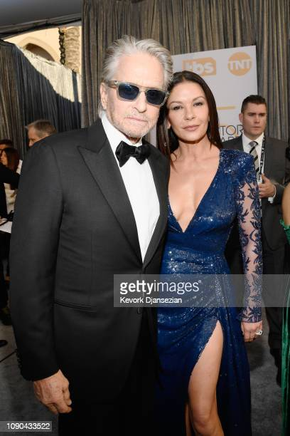 Michael Douglas and Catherine Zeta-Jones attend the 25th Annual Screen Actors Guild Awards at The Shrine Auditorium on January 27, 2019 in Los...