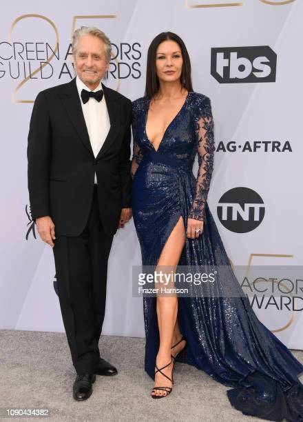 Michael Douglas and Catherine ZetaJones attend the 25th Annual Screen Actors Guild Awards at The Shrine Auditorium on January 27 2019 in Los Angeles...
