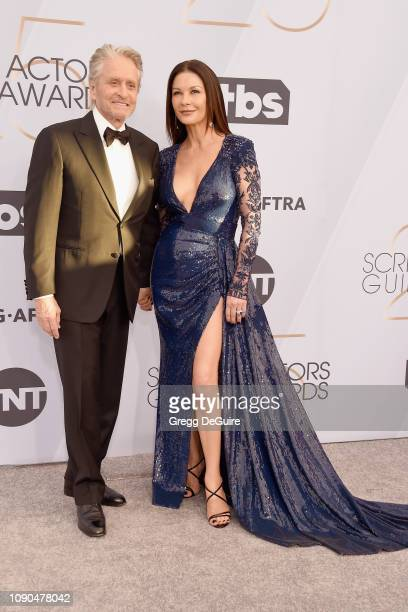 Michael Douglas and Catherine ZetaJones attend the 25th Annual Screen ActorsGuild Awards at The Shrine Auditorium on January 27 2019 in Los Angeles...