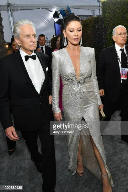 Michael Douglas and Catherine ZetaJones attend the 26th Annual Screen ActorsGuild Awards at The Shrine Auditorium on January 19 2020 in Los Angeles...
