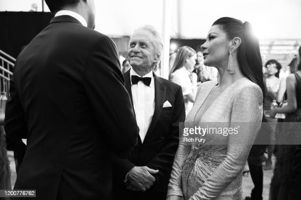 Michael Douglas and Catherine ZetaJones attend the 26th Annual Screen Actors Guild Awards at The Shrine Auditorium on January 19 2020 in Los Angeles...